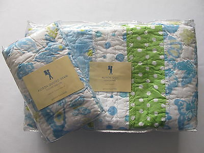 pottery barn kids ALLISON Twin QUILT+ STANDARD SHAM Blue Green NEW Polka Dots