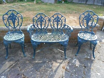 Vintage Cast Aluminium Ornate bistro bench & chairs
