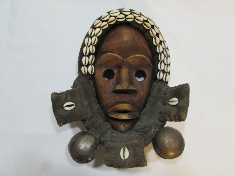Vintage African Dan Mask Ceremonial Worn Tribal Carved Wood Cloth Cowry Shell