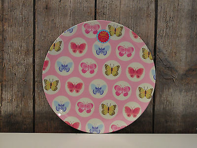 Ginger - Melamin Plate - Teller - butterfly rosa - Schmetterlinge - rosa türkis