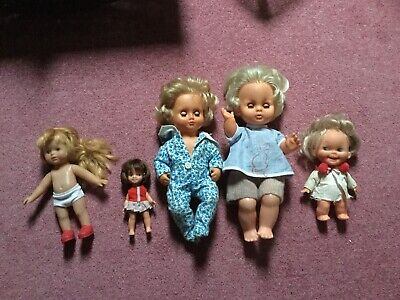 Five Vintage Pram Baby Dolls Rubber/Plastic Palitoy Semino, Perfecta And Hosts.