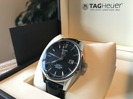 TAG HEUER CARRERA  CALIBRE 7 TWIN TIME BLACK LEATHER STRAP