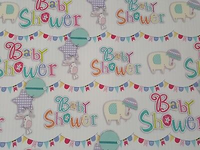 2 SHEETS OF GLOSSY BABY SHOWER WRAPPING PAPER  - Baby Shower Wrapping Paper