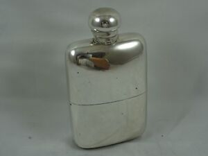 QUALITY, solid silver HIP FLASK, 1914, 197gm