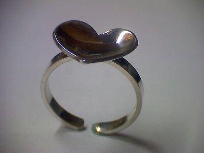 Alter Ring, Damenring mit Herz in Silber 835 offene Schiene