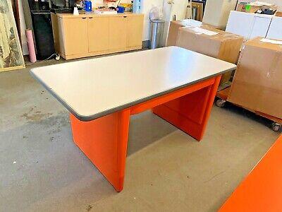 60w X 30d X 29h Vintage Style Metal Tank Table Desk By Allsteel In Orange