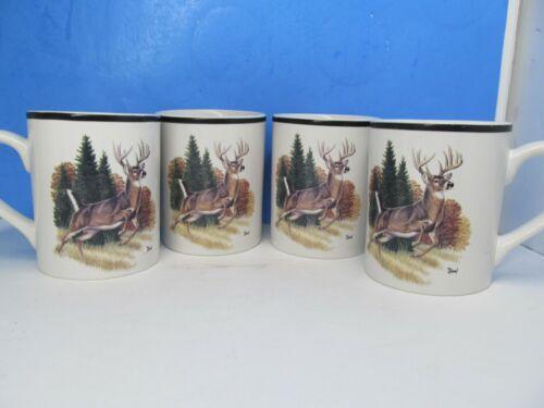 Bass Pro Shops Coffee Mug Cup Wildlife Whitetail Buck Deer Hunting Bundle of 4