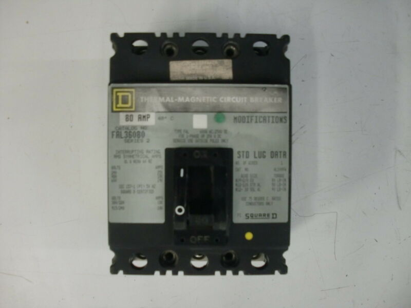 SQUARE D THERMAL MAGNETIC CIRCUIT BREAKER FAL36080