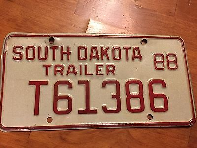 South Dakota  trailer license plate  1988