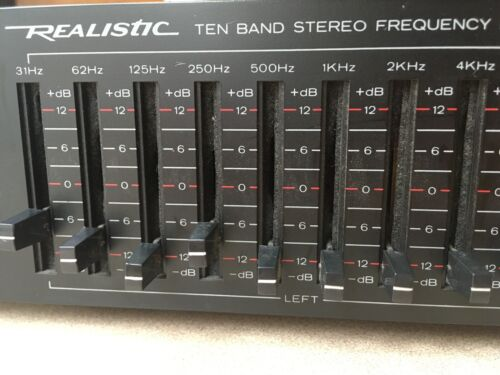 Realistic Ten Band Stereo Frequency Equalizer Model 31-2018A Black