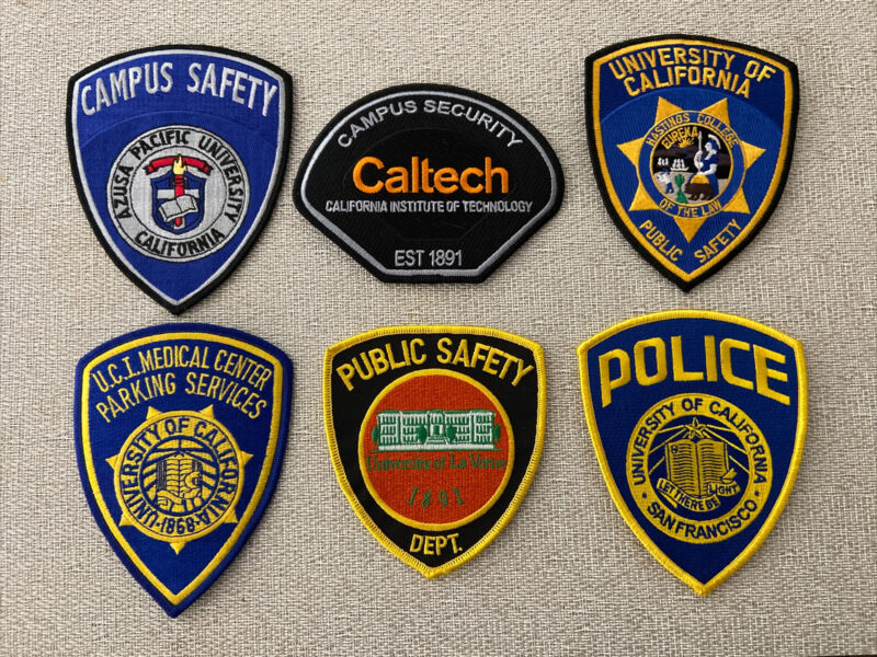 6 California College University Public Safety CA Police Patches
