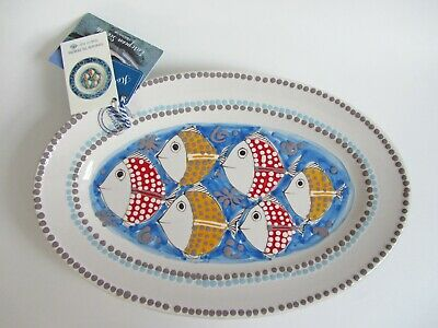 "Hand-Made VAL DEMONE Ceramics Decorative OVAL PLATTER 14.5""x 9.5"" Fish Italy NEW"