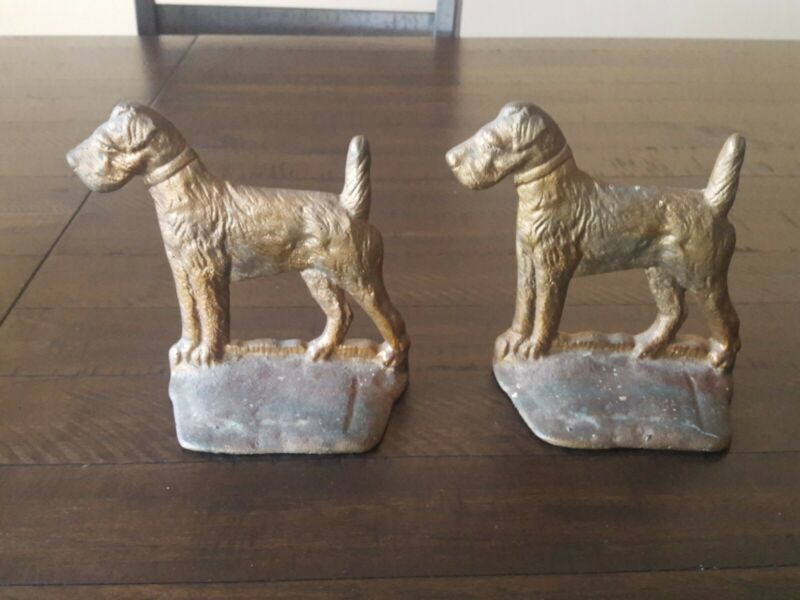 Vintage Bookends Dog  Terrier,Airedale,Fox,Welsh.Solid Brass