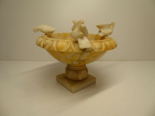ANTIQUE ART DECO NOUVEAU MARBLE BIRD BATH ITALIAN 1900 BOWL CENTERPIECE