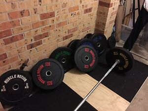 150kg bumper plates - 20kg 2000 pound rated barbell - platform Frenchs Forest Warringah Area Preview
