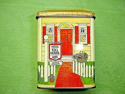"""Vintage Nestle Toll House """"Guests Welcome"""" House Mini Tin - Made in England"""