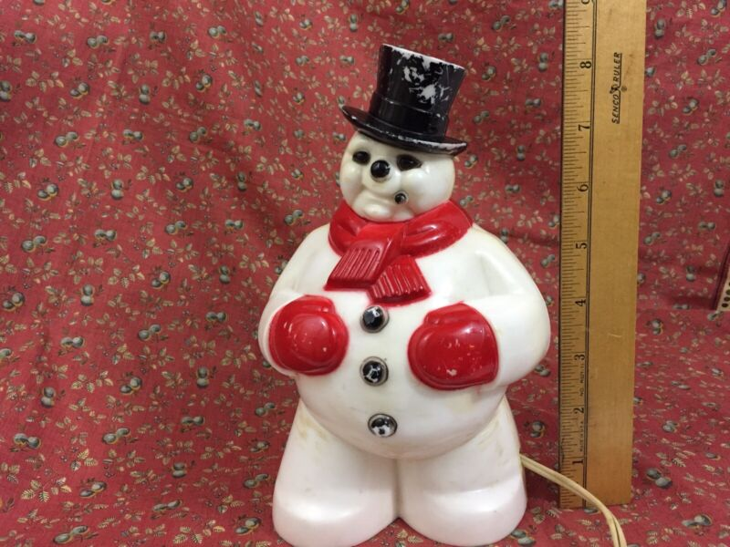 "VTG Hard Plastic Light Up Snowman 8.5"" Tall Works General Products USA"