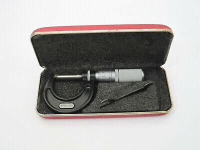 Vtg Starrett Machinist Micrometer Caliper No.436 25mm 1 W Hard Case Athol Usa