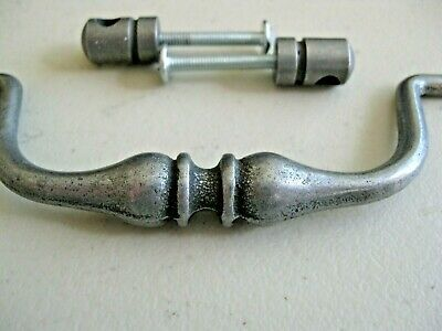 (16) Bouvet French Kitchen Cabinet Drop Pulls Pewter Made in France New