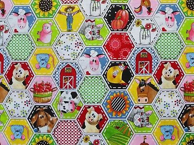 PATCHWORK FARMS FABRIC  BARNYARD FARM ANIMALS SCARECROW AUTUMN FALL  BY THE YARD - Barnyard Animals