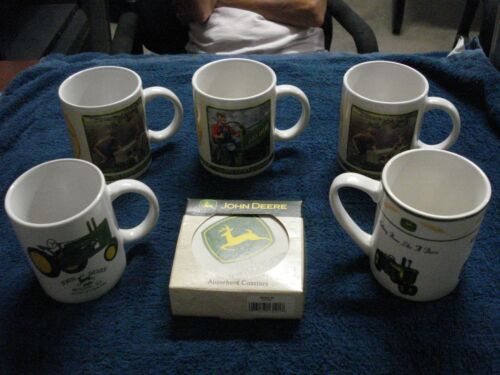 John Deere Coffee Cup Lot Of 5 - 1 Sets Absorbant Stone & Cork Coasters