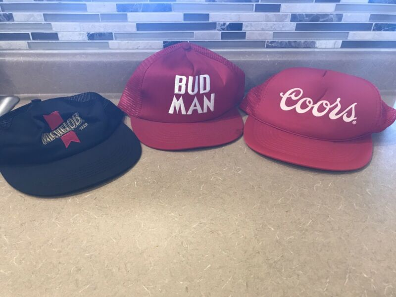LOT 3 BUDWEISER BUD MAN SNAPBACK MESH ADJUSTABLE HAT Vintage Coors Michelob