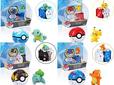 Pokemon Throw Catch Pop Poke-ball Figure Pikachu Squirtle Bulbasaur Charmand Toy