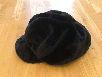 Zara Furry Black Flat Cap Hat Cab Women's Medium M
