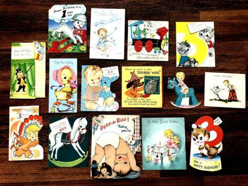 Vtg 50s Baby Toddler Birthday Cards 15ct Hallmark Am Greeting Norcross