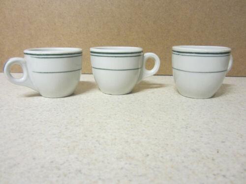 LOT OF 3  Vintage Green Stripe Restaurant Hotel Ware Demitasse Espresso Cup 2 OZ