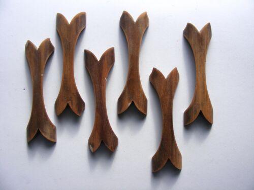 Six vintage mid century modern wood  sculptural drawer pulls