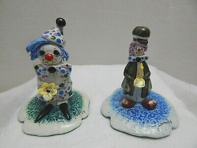 ZAMPIVA MADE IN ITALY HANDCRAFTED SIGNED CERAMIC CLOWN FIGURINES LOT OF 2 for sale  Shipping to Ireland
