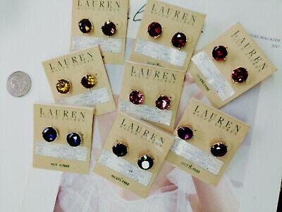 Lauren Ralph Lauren Gorgeous14k Gold Plated Faceted Glass Stud Earrings