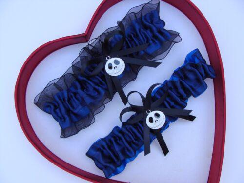 New Navy Royal Black Nightmare Before Christmas Jack Skellington Wedding Garter