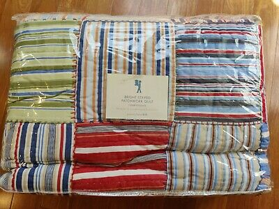 Pottery Barn Kids Full Queen Quilt Multicolor Bright Striped Patchwork NEW