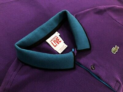 Lacoste Live Mens Crocodile Logo Short Sleeve Polo Shirt Purple Size 6