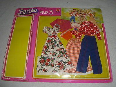 NEW VINTAGE BARBIE PLUS 3 FASHIONS OUTFITS 9953 MATTEL 1978 RARE DRESS PANTS NOS