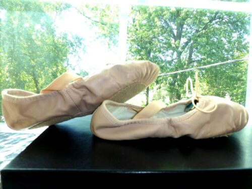 THEATRICALS Peach Pink Beige LEATHER Girls BALLET SLIPPERS Shoes DANCE Size 12 *