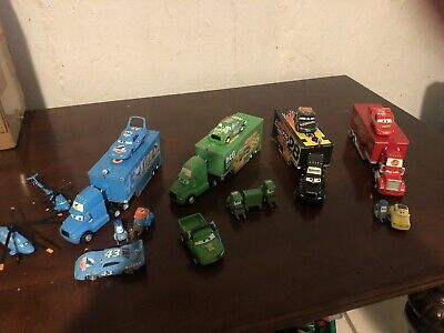 Disney Pixar Cars  Hauler Trucks Lot of 4! FEATURING Crashed DINOCO RARE!!