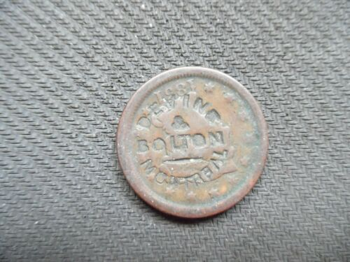 Canada Trade token. Counter stamped on US 1851 cent. Devins & Bolton Montreal.