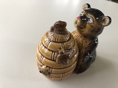 Salt Pepper Shakers Japan New Bear With Beehive Collectible Kitchen Decor
