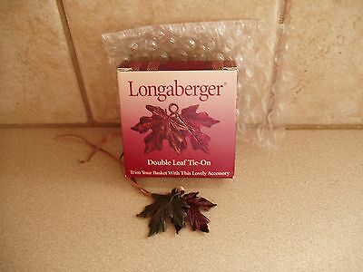 LONGABERGER DOUBLE LEAF GREEN & BROWN TIE-ON FOR FALL * USA * NIB FREE SHIPPING