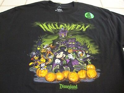 2015 T-Shirt Black Glow In The Dark Mens Size Large NEW NWT (Disneyland In Halloween)