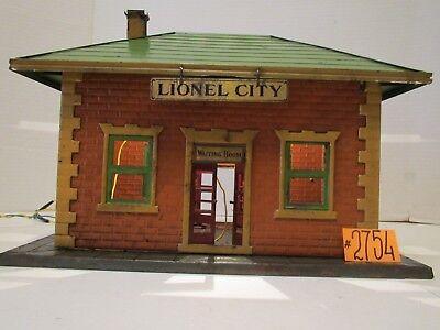 Prewar Lionel City Station #122 Tin Illuminated Waiting Area Railroad Station