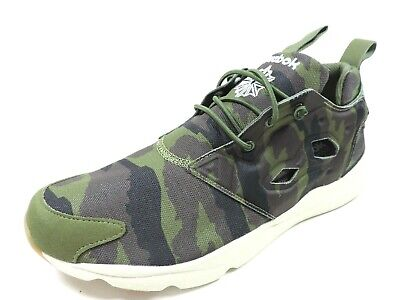 Reebok Mens Furylite Graphic Canvas V67790 Trainers Shoes Green Camouflage
