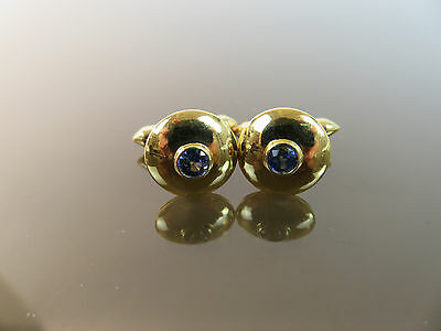 Fine Vintage 18k Yellow Gold Natural Blue Sapphire Cufflinks