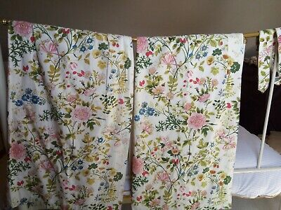 Vintage Curtains Pair Of Greensleeves By Jonelle Lined With Tiebacks