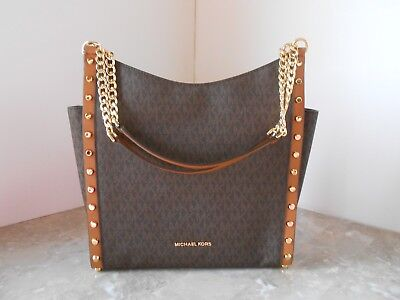 New MICHAEL KORS Newbury Medium Chain Stud Shoulder Bag MK Signature $368 BROWN