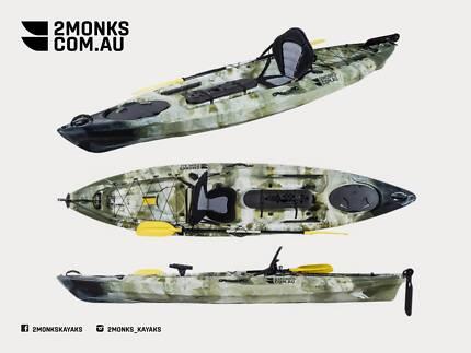 Pro Fishing Kayak Single Sit-On 3.6M Rod Holders, Seat, Paddle