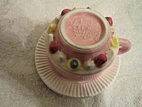 Russ Happy Birthday Pink White Tea Cup/Saucer Ceramic